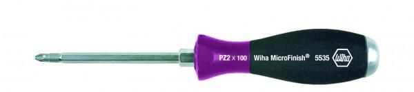 Wiha Schraubendreher MicroFinish® Pozidriv mit durchgehender Sechskantklinge und massiver Stahlkappe (29159) PZ2 x 100 mm
