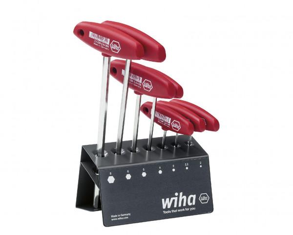 Wiha Stiftschlüssel mit Quergriff Set Sechskant 7-tlg. glanzvernickelt im Werkbankständer (00953)