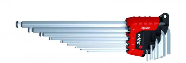 Wiha Stiftschlüssel Set im ErgoStar Halter Sechskant-Kugelkopf MagicRing® 9-tlg. mattverchromt in Blister (37352)